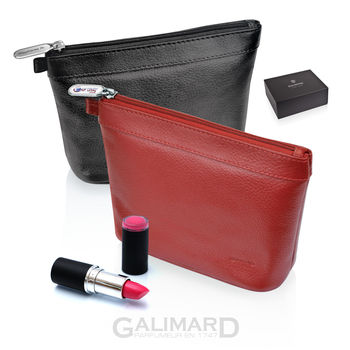 Trousse de Maquillage en Cuir Galimard